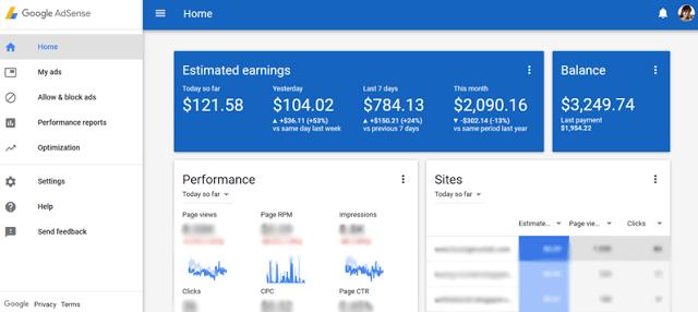 Google AdSense 广告收入