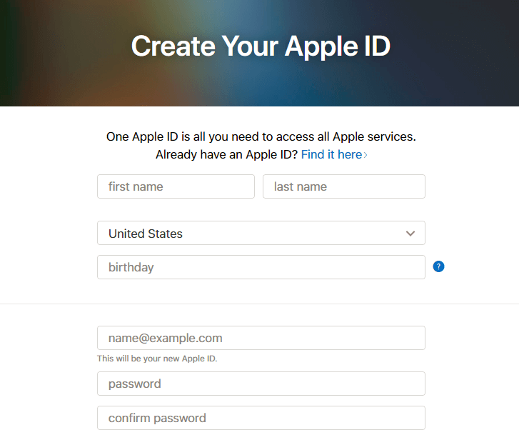 AppleID account register.png
