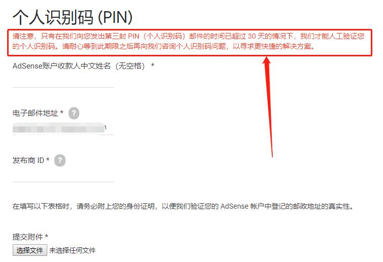 Google Adsense PIN码人工审核申请表单图