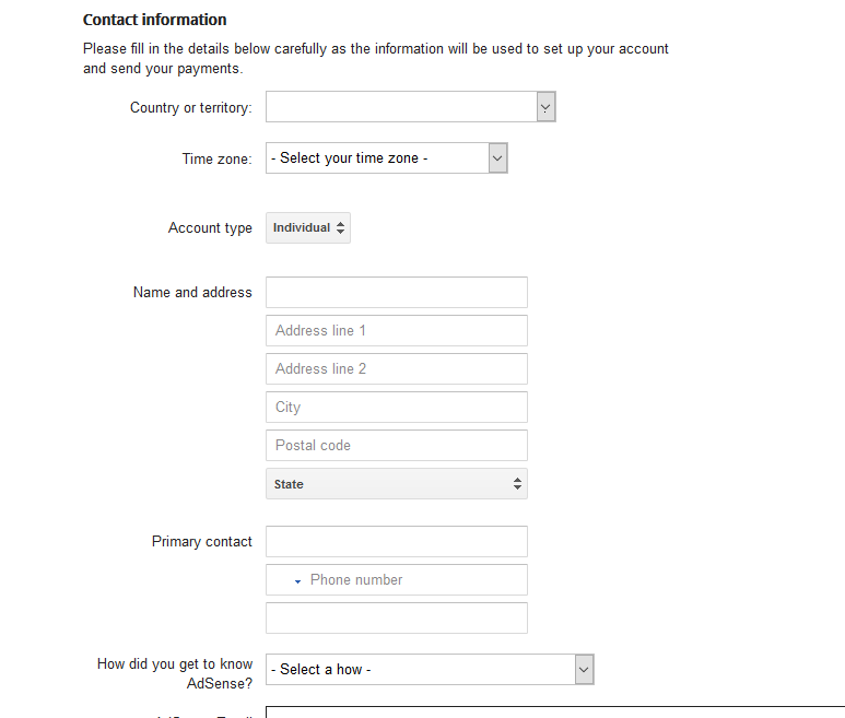 adsense account payee information