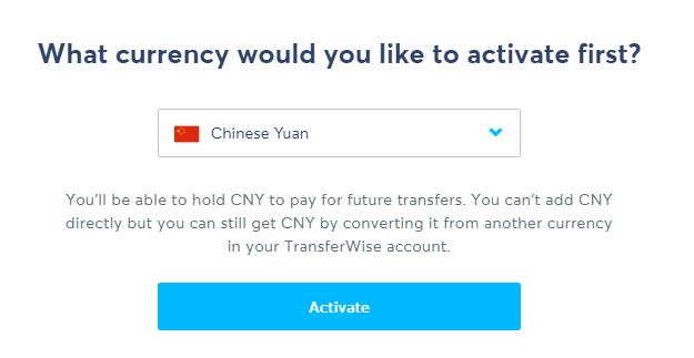 TransferWise 新建激活人民币账户