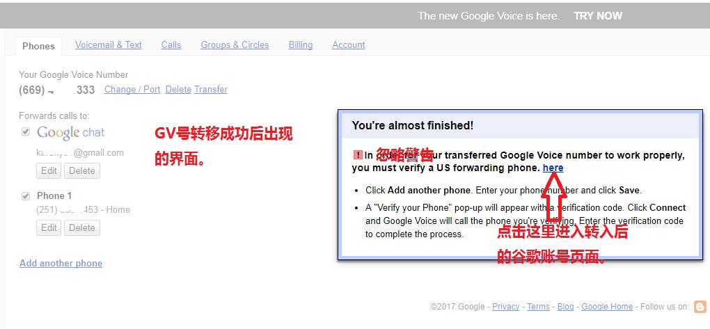 Google Voice转移成功