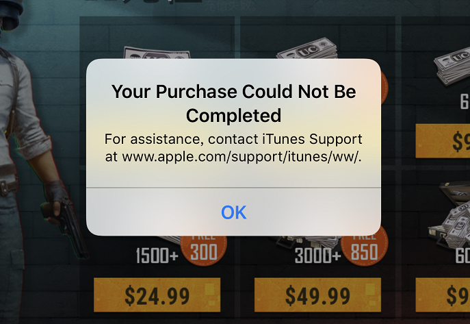 APPLE Your Purchase Could Not Be Completed