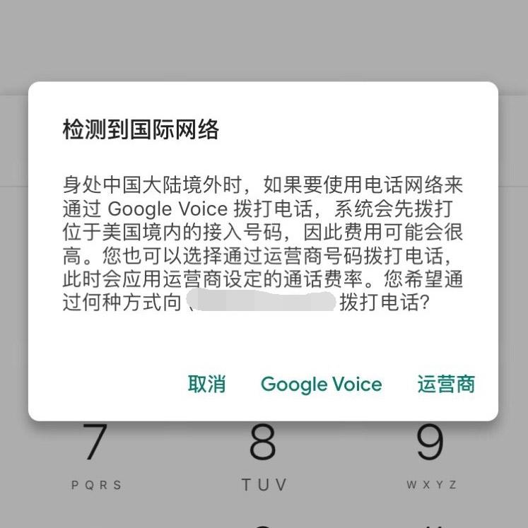 Google Voice检测到国际网络