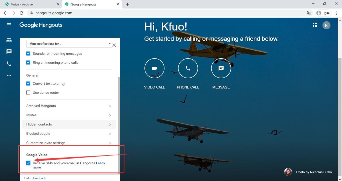 允许使用Hangouts接收Google Voice短信